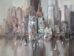 Moody New York Harbour by Wilfred - Original Painting on Box Canvas sized 45x33 inches. Available from Whitewall Galleries